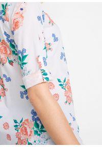 Biała tunika bonprix w kwiaty