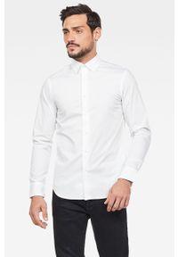 Biała koszula G-Star RAW klasyczna, długa, z klasycznym kołnierzykiem