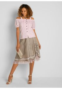 Bluzka w ludowym stylu z falbanami bonprix pastelowy jasnoróżowy. Kolor: różowy