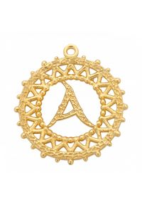 MOKOBELLE - Pozłacany naszyjnik z kulkami i literką 50-60 cm. Materiał: pozłacane. Kolor: złoty. Wzór: ażurowy, aplikacja #4
