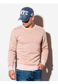 Ombre Clothing - Bluza męska bez kaptura B978 - brzoskwiniowa - XXL. Okazja: na co dzień. Typ kołnierza: bez kaptura. Kolor: pomarańczowy. Materiał: materiał, bawełna, poliester. Styl: casual, klasyczny