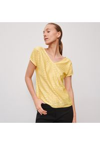 Żółta bluzka Reserved w ażurowe wzory