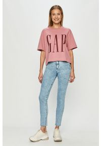 Różowa bluzka GAP na co dzień, z nadrukiem