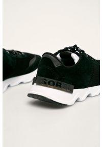 Czarne buty sportowe sorel na sznurówki, z cholewką, z okrągłym noskiem