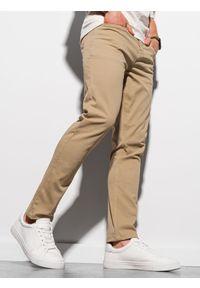 Ombre Clothing - Spodnie męskie chino P990 - ciemnobeżowe - XXL. Kolor: beżowy. Materiał: bawełna, elastan