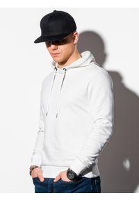 Biała bluza Ombre Clothing z kapturem, z nadrukiem