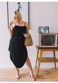 Czarna sukienka Fanaberia.com na ramiączkach, w kolorowe wzory, z asymetrycznym kołnierzem, asymetryczna