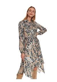 TOP SECRET - Printowana sukienka z wiskozy. Okazja: do pracy, na imprezę. Kolor: niebieski. Materiał: wiskoza. Długość rękawa: długi rękaw. Wzór: aplikacja, nadruk. Sezon: zima. Styl: elegancki