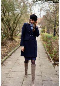 Marie Zélie - Płaszcz wełniany Debora granatowy – flausz. Kolor: niebieski. Materiał: wełna. Wzór: motyw zwierzęcy. Sezon: zima. Styl: klasyczny #1