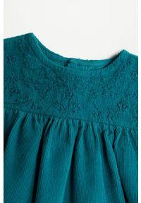Zielona sukienka Mango Kids rozkloszowana, z haftami, mini #4
