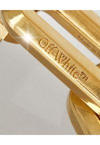 OFF-WHITE - Złote kolczyki z łańcuchem. Materiał: złote. Kolor: złoty. Wzór: geometria, aplikacja