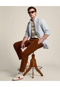 GOLDEN GOOSE - T-shirt z napisem Journey. Kolor: beżowy. Materiał: bawełna. Wzór: napisy. Styl: klasyczny