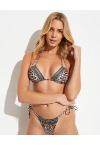 Camilla - CAMILLA - Top od bikini Call of the catedral. Kolor: brązowy. Materiał: tkanina, nylon. Wzór: aplikacja, nadruk