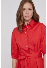 Pennyblack - Sukienka. Kolor: czerwony. Materiał: tkanina. Długość rękawa: krótki rękaw. Wzór: gładki. Typ sukienki: rozkloszowane
