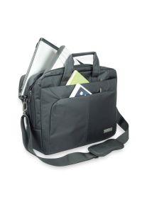 Czarna torba na laptopa TREQ w kolorowe wzory