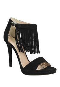 Czarne sandały Bruno Premi na lato, na co dzień, w kolorowe wzory, klasyczne