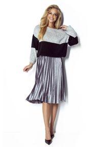 Fobya - Szaro-Czarny Dwukolorowy Sweter z Bufiastym Rękawem. Kolor: szary, czarny, wielokolorowy. Materiał: poliester, akryl, wełna, poliamid