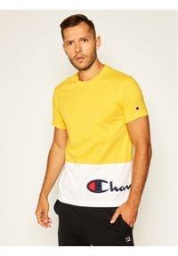Champion T-Shirt Colour Block Wraparound Logo 214208 Żółty Comfort Fit. Kolor: żółty