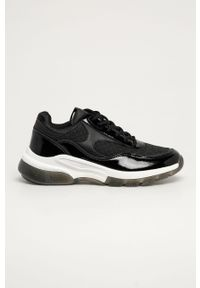 Czarne buty sportowe Answear Lab z cholewką, na obcasie, na sznurówki, na średnim obcasie