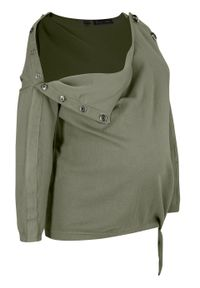 Zielony sweter bonprix moda ciążowa