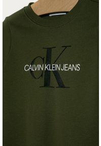 Oliwkowa bluza Calvin Klein Jeans bez kaptura, casualowa, na co dzień