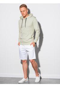 Ombre Clothing - Bluza męska z kapturem B1147 - jasnomiętowa - XXL. Typ kołnierza: kaptur. Kolor: miętowy. Materiał: bawełna