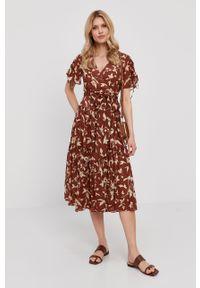 Brązowa listonoszka Lauren Ralph Lauren skórzana, gładkie, na ramię, mała