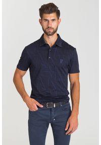 Niebieska koszulka polo Versace Collection polo, w kolorowe wzory