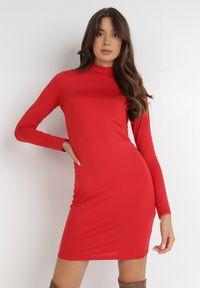 Born2be - Czerwona Sukienka Phenolea. Kolor: czerwony. Materiał: dzianina. Długość rękawa: długi rękaw. Wzór: gładki. Styl: elegancki. Długość: mini