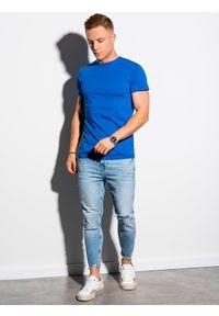 Ombre Clothing - T-shirt męski bawełniany basic S1370 - niebieski - XXL. Kolor: niebieski. Materiał: bawełna. Styl: klasyczny