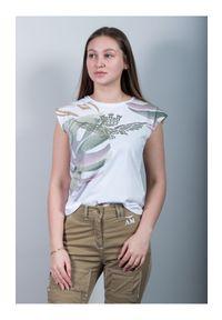 T-shirt z krótkim rękawem w tropikalny wzór liści Aeronautica Militare. Kolor: biały. Materiał: bawełna. Długość rękawa: krótki rękaw. Długość: krótkie. Wzór: nadruk. Sezon: lato