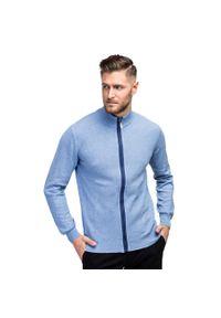 Niebieski sweter Giacomo Conti w kolorowe wzory, casualowy, polo