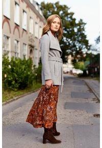 Marie Zélie - Płaszcz Adela szary – wełna Nova Fides. Kolor: szary. Materiał: wełna. Długość rękawa: długi rękaw. Długość: długie. Sezon: zima