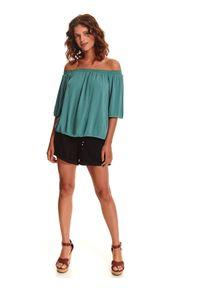 Zielona bluzka TOP SECRET krótka, w koronkowe wzory, wakacyjna