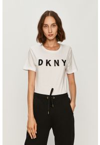 Biała bluzka DKNY na co dzień, z aplikacjami, casualowa