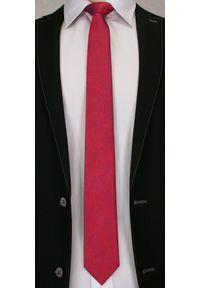 Wyrazisty Krawat Męski z Kwiecistą Fakturą - 6 cm - Angelo di Monti, Czerwony. Kolor: czerwony. Wzór: kwiaty