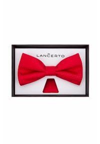 Czerwona muszka Lancerto w kolorowe wzory, elegancka