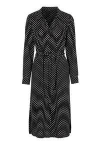 Czarna sukienka Happy Holly z dekoltem w serek, w kropki, szmizjerki