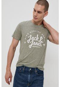 Jack & Jones - T-shirt. Okazja: na co dzień. Kolor: zielony. Materiał: dzianina. Wzór: nadruk. Styl: casual
