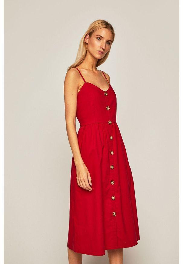 Czerwona sukienka medicine midi, z okrągłym kołnierzem, na ramiączkach, rozkloszowana