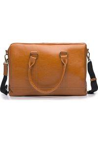 Torba Solier Skórzana torba męska na laptopa Solier jasnobrązowa. Kolor: brązowy. Materiał: skóra