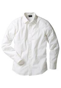 Koszula ze stretchem Slim Fit bonprix biały. Kolor: biały. Długość rękawa: długi rękaw. Długość: długie