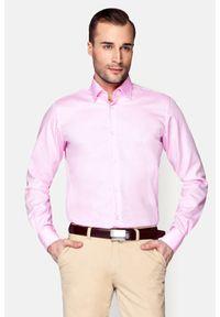 Lancerto - Koszula Różowa Klaus. Kolor: różowy. Materiał: bawełna, tkanina. Styl: elegancki