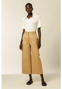 IVY & OAK - T-shirt Kamee. Okazja: na co dzień. Kolor: beżowy. Materiał: włókno, materiał. Styl: casual