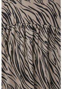 Vila - Sukienka. Kolor: szary. Materiał: tkanina. Długość rękawa: długi rękaw. Typ sukienki: rozkloszowane