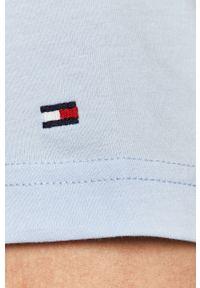 Niebieski t-shirt TOMMY HILFIGER casualowy, na co dzień, z aplikacjami