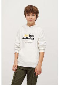 Biała bluza Mango Kids casualowa, z nadrukiem, na co dzień, z kapturem