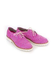 Różowe półbuty Zapato klasyczne, na lato, na sznurówki, w kolorowe wzory