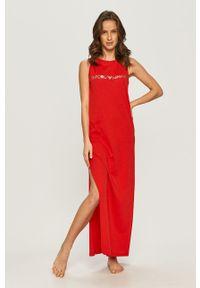 Emporio Armani - Sukienka. Okazja: na co dzień. Kolor: czerwony. Materiał: dzianina. Wzór: nadruk. Typ sukienki: proste. Styl: casual