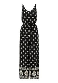 Happy Holly Kombinezon we wzory Matilda Czarny we wzory female czarny/ze wzorem 44/46. Kolor: czarny. Materiał: tkanina, guma, wiskoza. Długość rękawa: na ramiączkach. Długość: do kostek